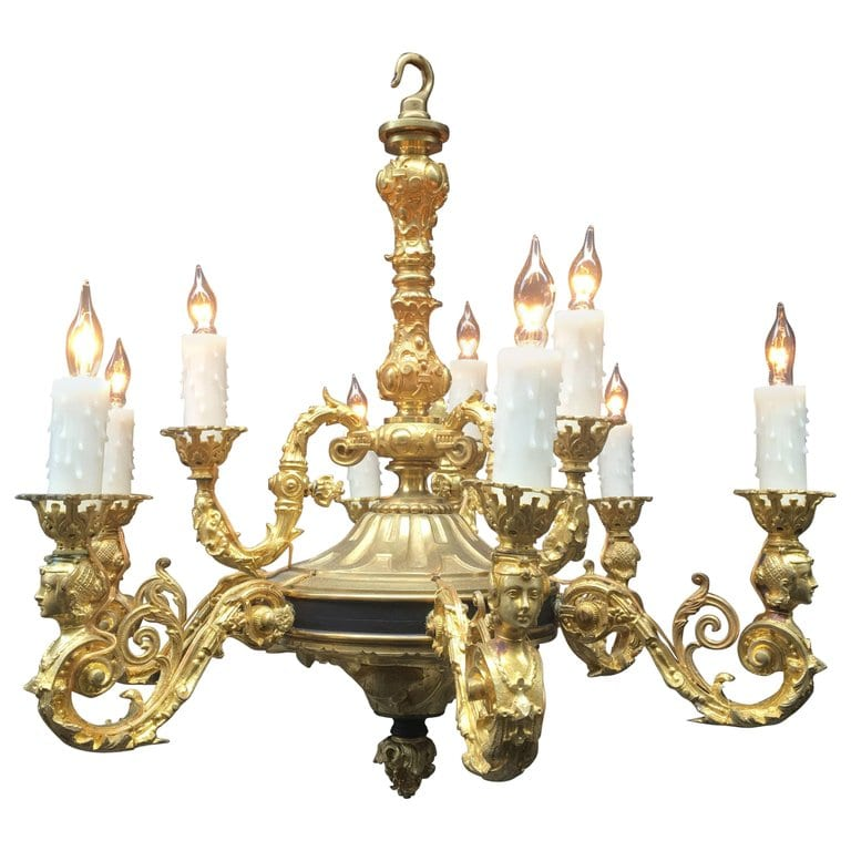 1840s Louis Philippe Style French Gasolier