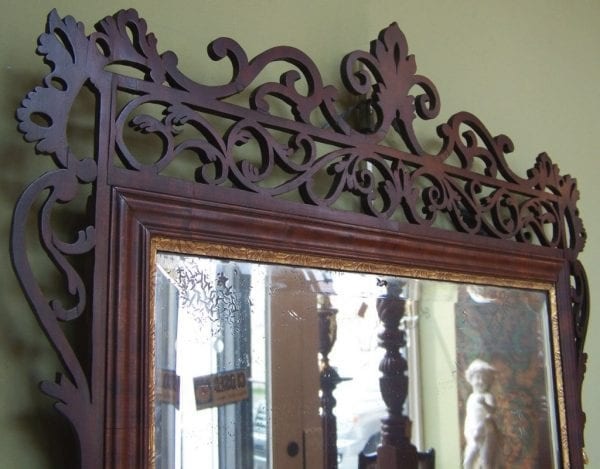 18th Century Dutch Queen Anne Mahogany Filigree and Giltwood Mirror