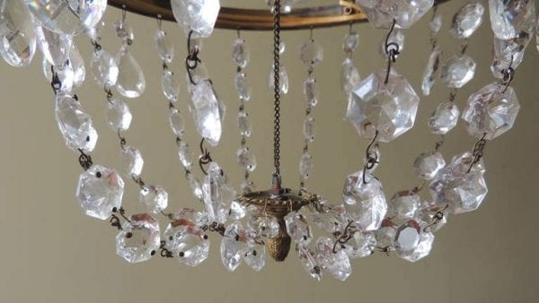 18th Century English Regency Crystal and Brass Chandelier