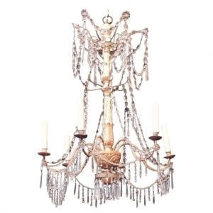 18th Century Genoese Gilt and Iron Chandelier