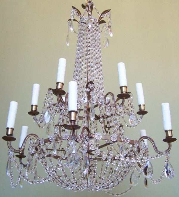 18th Century Italian Empire Double Pricket Chandelier