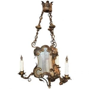 18th Century Venetian Baroque Gilt, Tole, and Glass Lantern Chandelier
