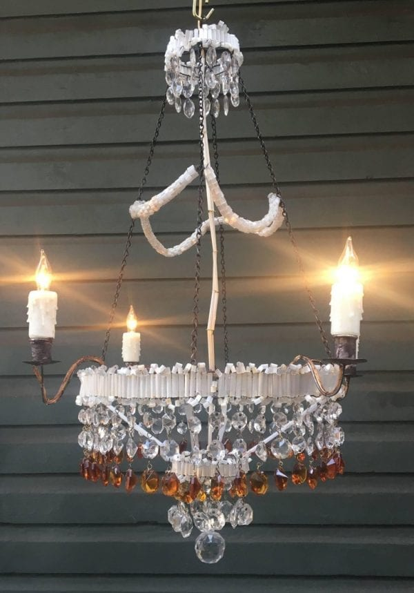 19th Century Italian Empire Venetian Opaline Glass and Amber Crystal Chandelier