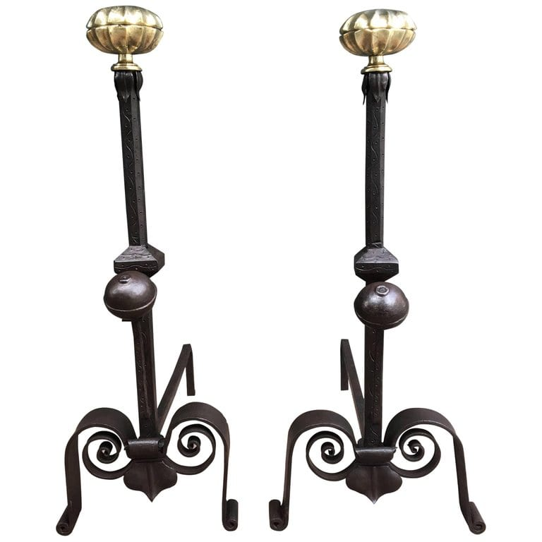 19th Century Italian Andirons With Brass Melon Tops