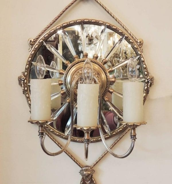 19th Century English Mirrored Bronze and Crystal Sconces by James Green