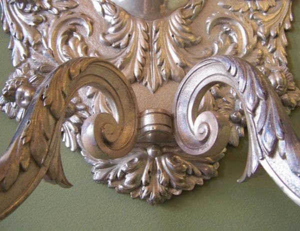 Set of Four 19th Century Baroque-Style Silver Plate Sconces