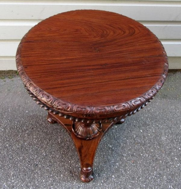 19th Century British Colonial Regency Rosewood Occasional Table