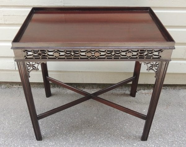 19th Century English Chinese Chippendale Style Mahogany Tea or Silver Table