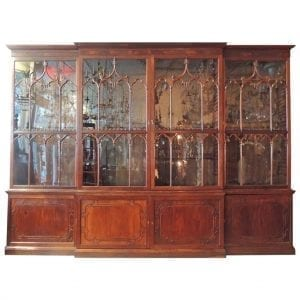 19th Century Irish Chippendale Mahogany Breakfront Bookcase