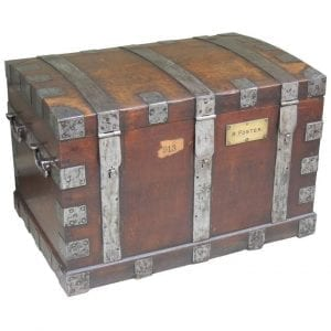 19th Century English Oak Silver Chest with Double Lock