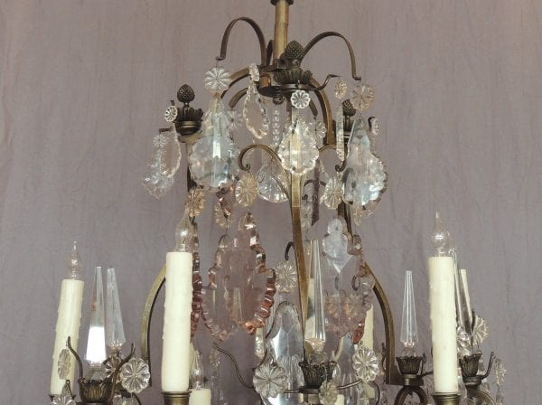 19th Century French Crystal and Bronze Chandelier, signed Vian Henri