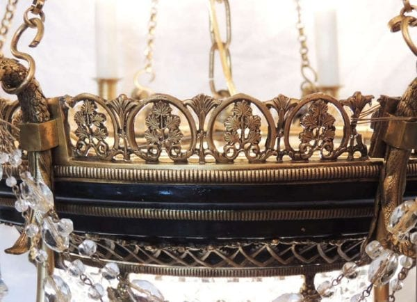 19th Century French Empire Bronze and Crystal Chandelier