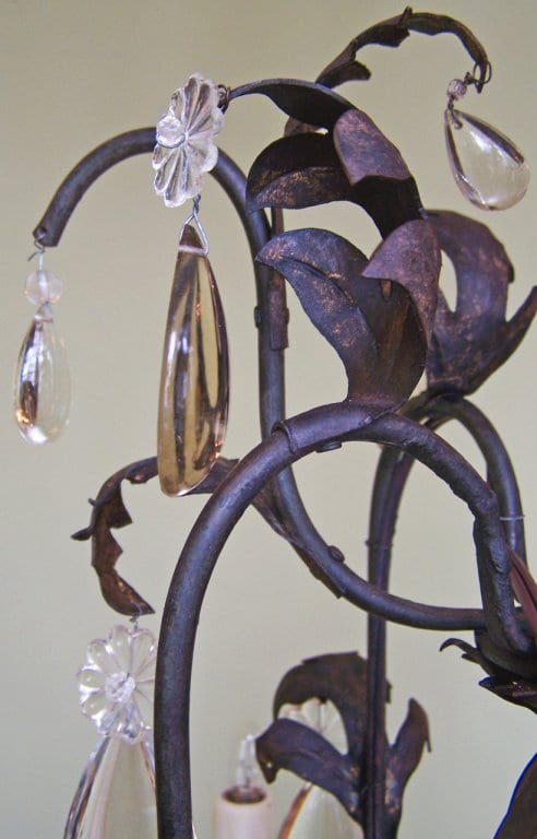 19th Century French Iron and Tole Birdcage Chandelier