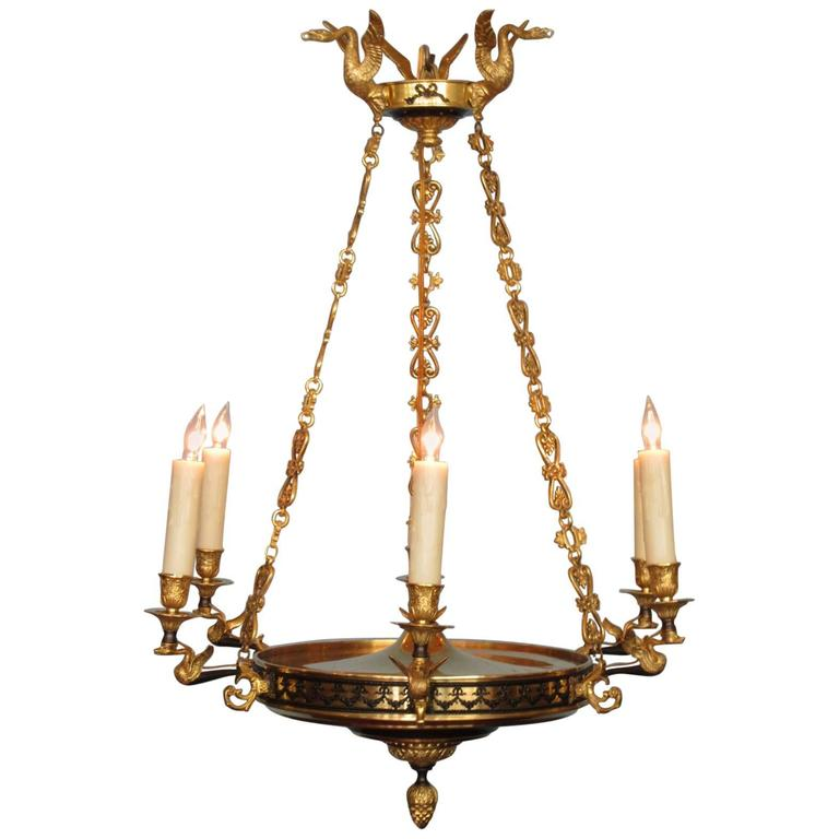 19th Century French Restoration Patinated and Bronze Doré Swan Chandelier