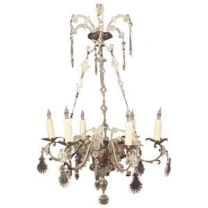 19th Century Italian Brass and Silver Plate with Crystal Chandelier