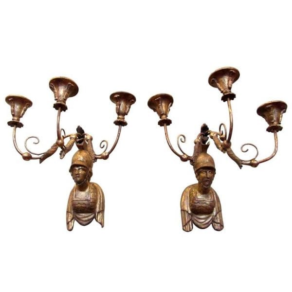 19th Century Italian Neoclassical Giltwood Sconces with Roman Soldier Busts