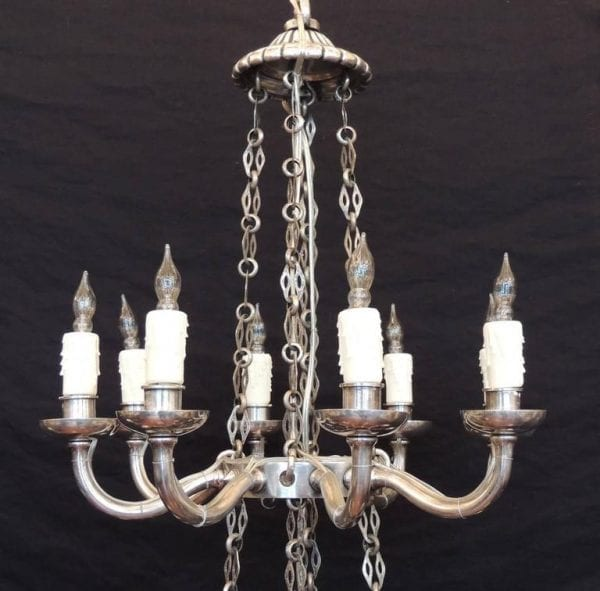 19th Century Neoclassical Silver Plated Bronze Two-Tiered Chandelier