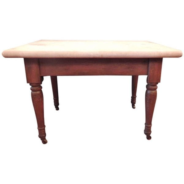 19th Century Southern Marble-Topped Baker's Table
