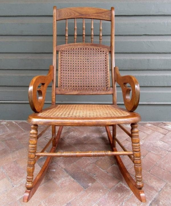19th Century St. Croix Regency Mahogany and Cane Rocking Chair
