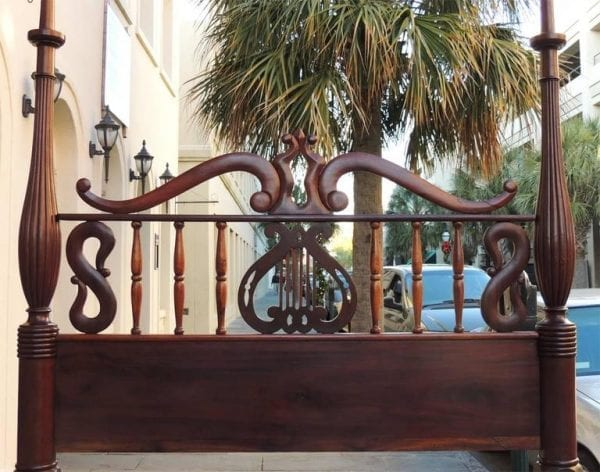19th Century St. Croix Stylized Regency Mahogany Queen Bed