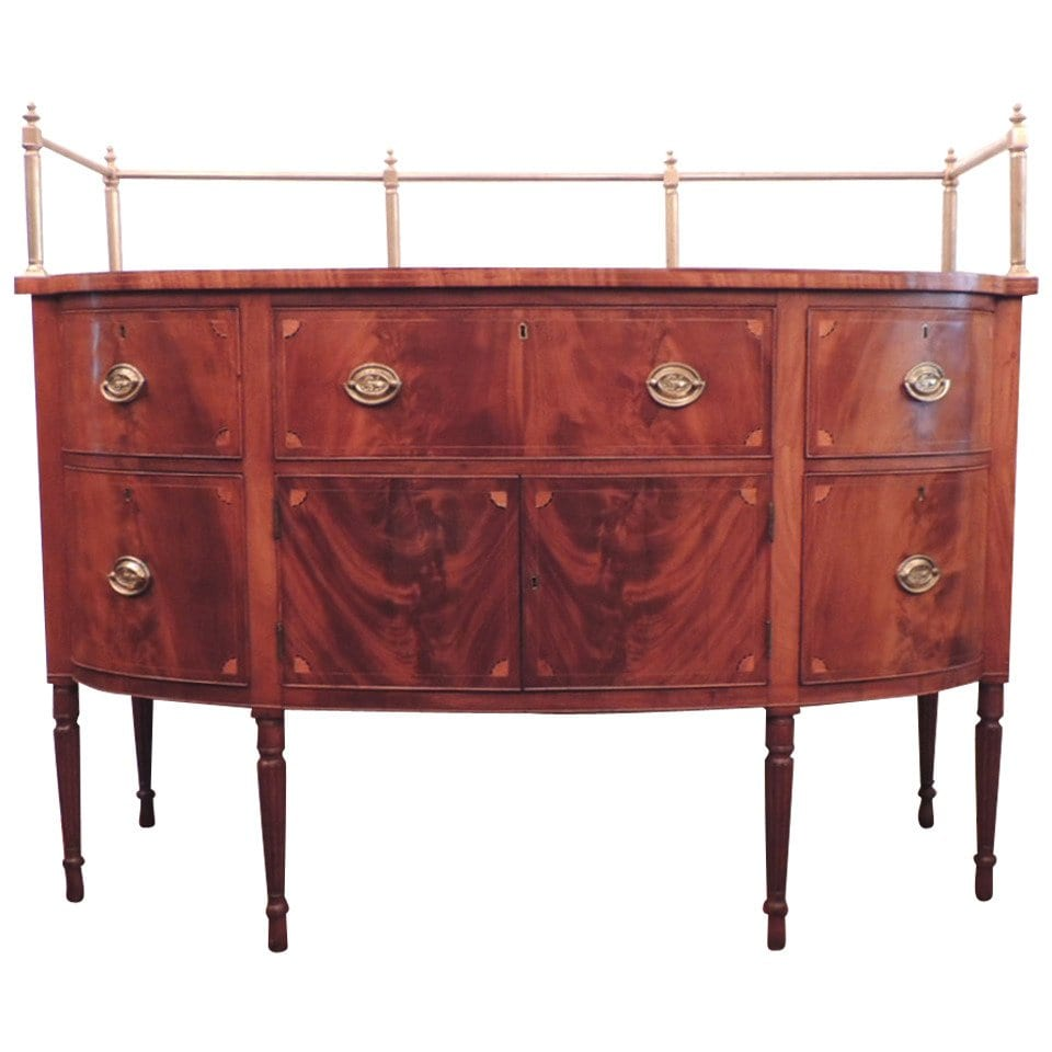 19th Century Virginia Sheraton Mahogany Sideboard with Gallery