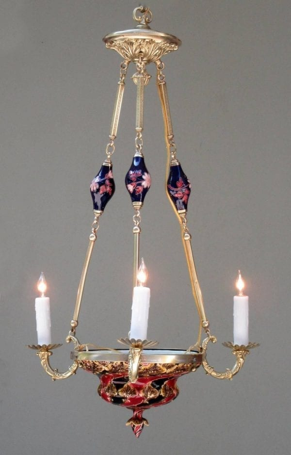 20th Century Bohemia Art Nouveau Majolica and Bronze Chandelier by J. Dressler