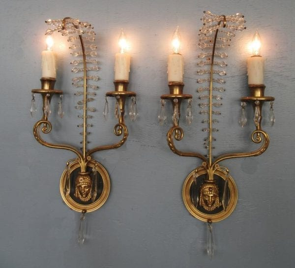 20th Century Italian Egyptian Bronze and Crystal Sconces