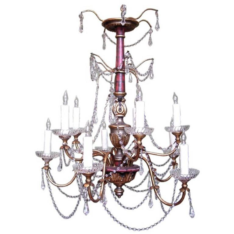 20th Century Italian Genoese Faux Painted Giltwood, Tole, and Crystal Chandelier