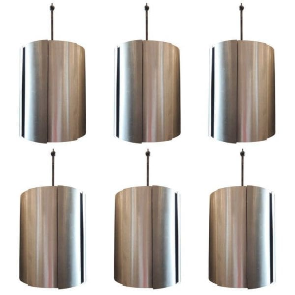 20th C Aluminum and Iron Chandeliers (Set of Six)