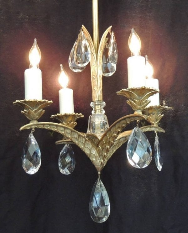 20th Century French Art Deco Bronze and Crystal Chandelier