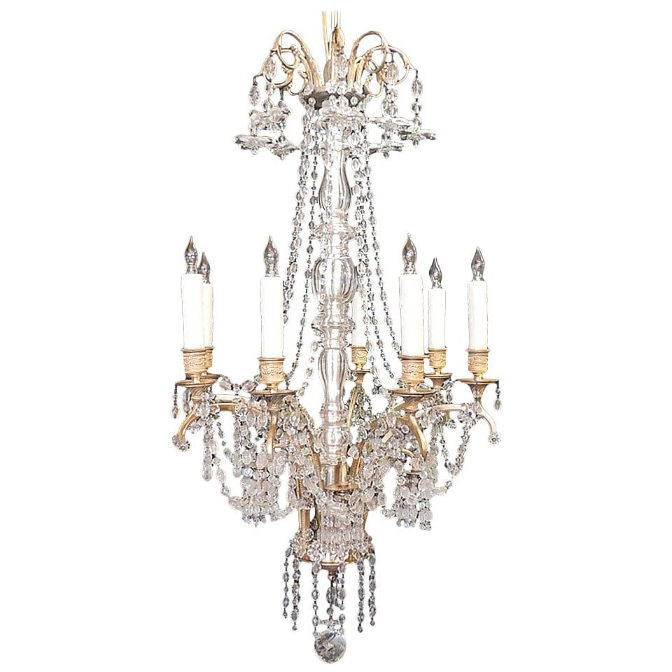 20th Century French Baccarat-Quality and Bronze Doré Chandelier