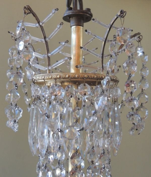 20th Century French Bronze and Crystal Chandelier