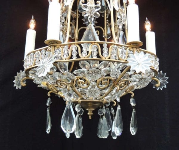 20th Century French Bronze Crystal Chandelier, attributed to Maison Bagues
