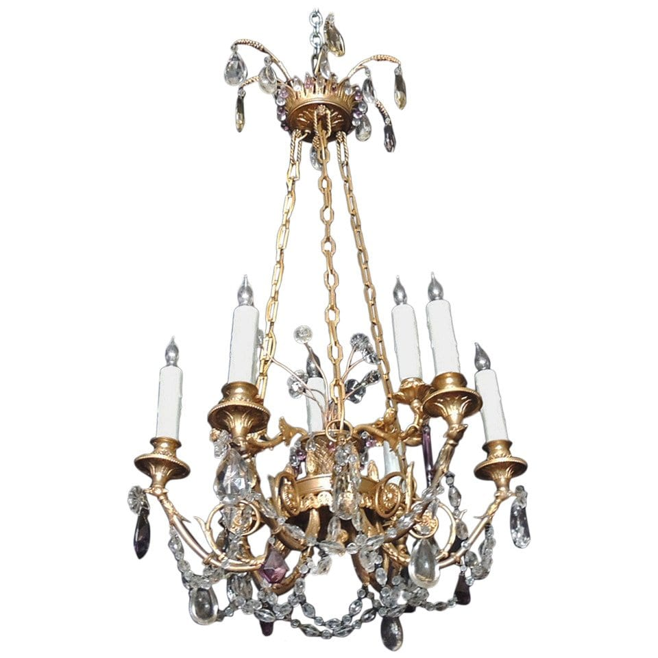 20th Century French Bronze Doré and Crystal Chandelier, attributed to M. Jensen