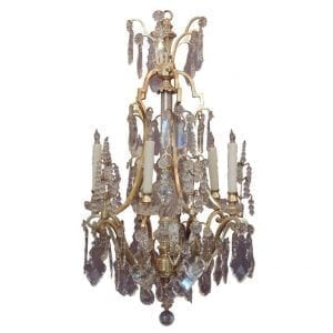 20th Century French Bronze Doré and Lead Crystal Chandelier