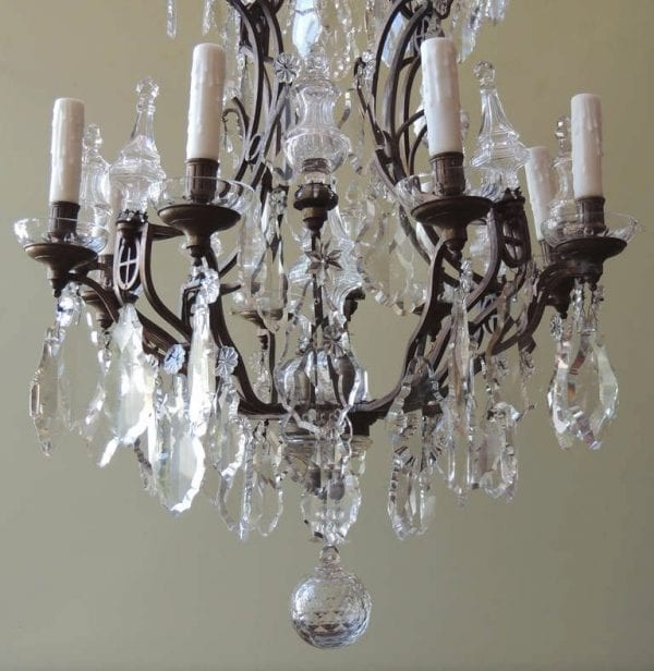 20th Century French Crystal and Bronze Chandelier
