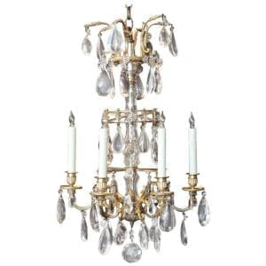 20th Century French Crystal and Bronze Chandelier, attributed to Maison Jansen