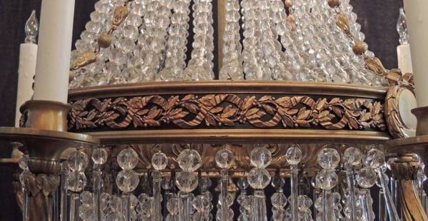 20th Century French Empire Style Crystal Chandelier