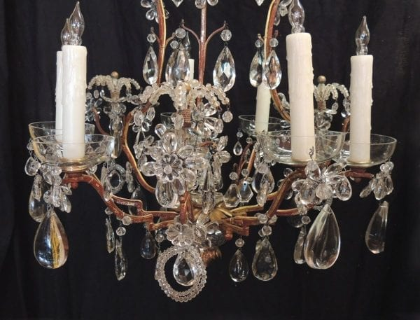 20th Century French Iron, Tole, and Crystal Chandelier, attributed to Bagues