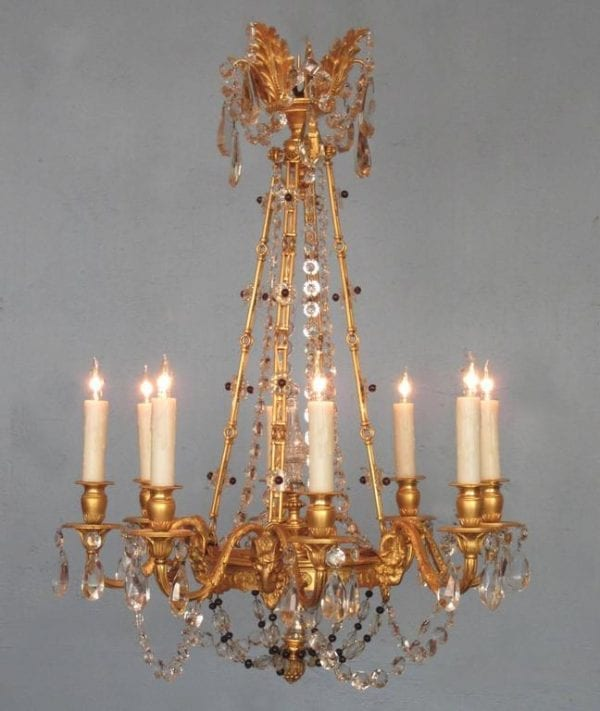 20th Century French Louis XIV Bronze Doré Crystal and Amethyst Chandelier