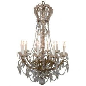 20th Century Italian Crystal and Brass Coronation Chandelier