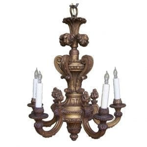 20th Century Italian Giltwood Chandelier with Flames and Plume