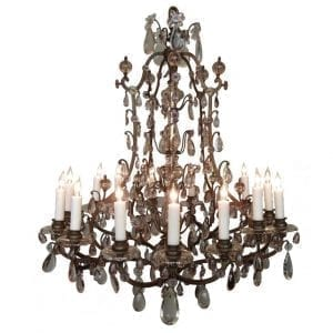 20th Century Italian Patinated Bronze, Crystal, and Amethyst Chandelier