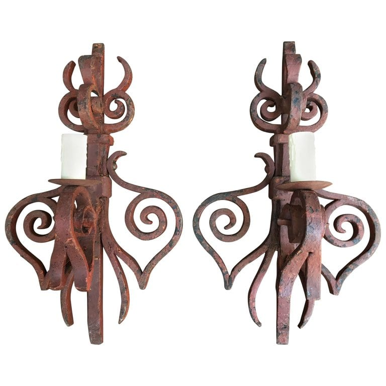 Early 19th Century French Hand Wrought Iron Sconces