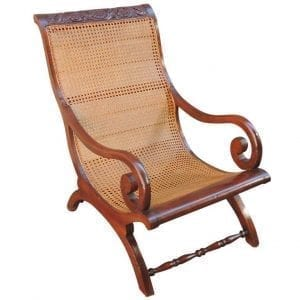 19th Century West Indies Regency Cane Campeche Chair