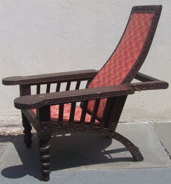 19th Century Anglo-Indian Carved and Caned Campeche Chair