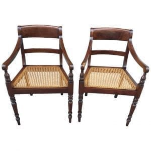 Pair of 19th Century Barbados Regency Mahogany Armchairs