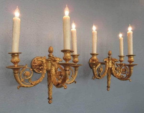 Pair of 19th Century French Empire Bronze Doré Sconces with Exceptional Casting