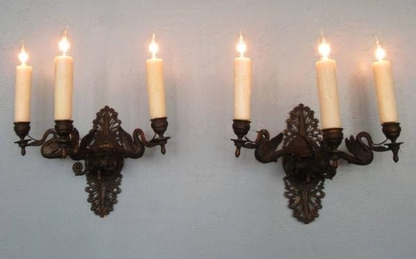 Pair of 20th Century Italian Empire Patinated Bronze Sconces with Swans