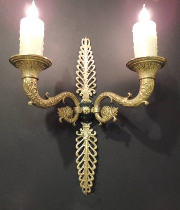 Pair of 19th Century French Bronze Empire Sconces